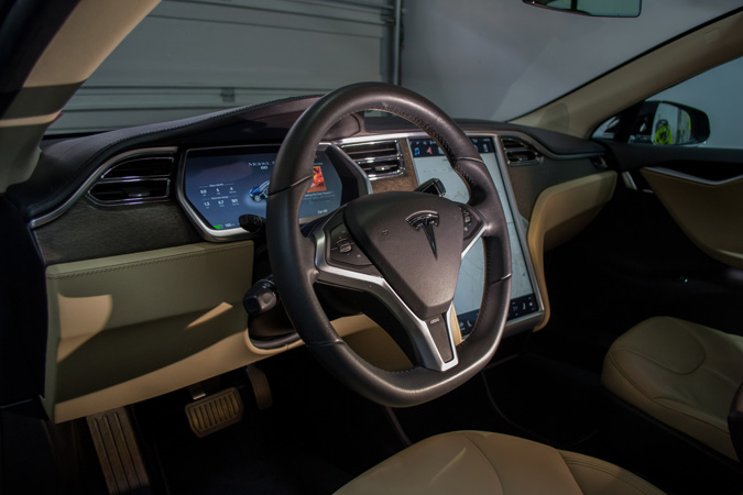 Interior Detail for a Tesla Car