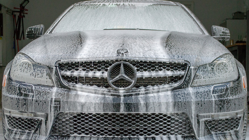 Mercedes C63 soaking in Meguiar's Hyperwash