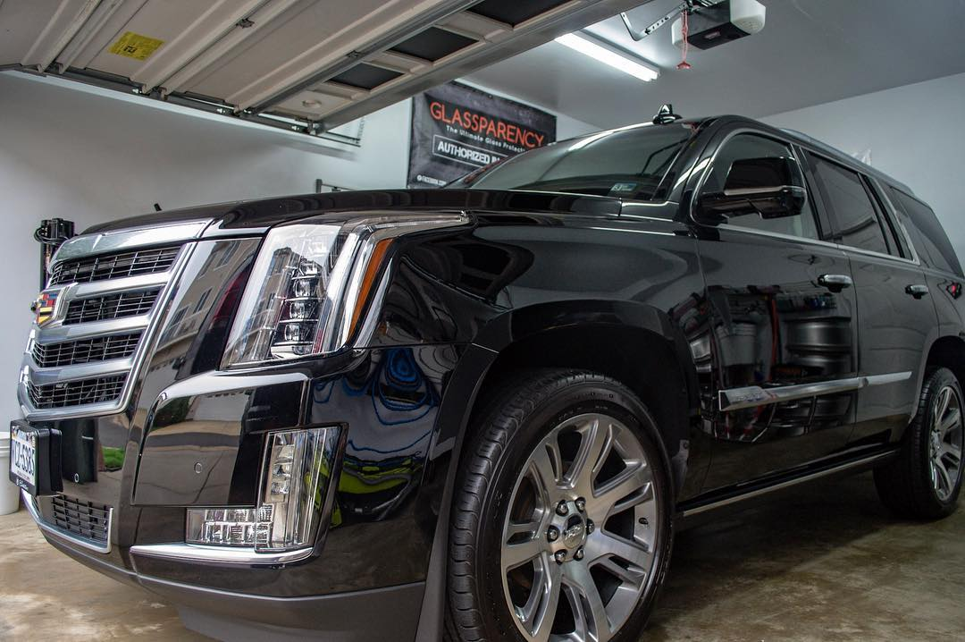 Exterior Trim being protected for a brand new Escalade with our new car prep service